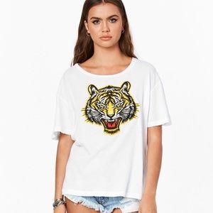 LF Emma & Sam White Tiger Patch T-Shirt Sm BNWT